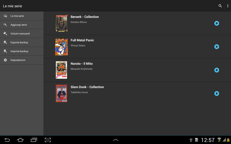Lista serie in archivio - Tablet